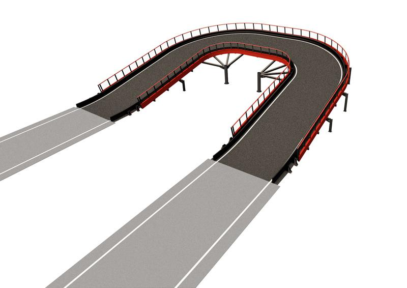 Banked Semi-Oval LARGE Driving experience: Banked semi-oval structure enhances the racing experience on the track with the feeling of centrifugal force while driving. Large Structure length: 151 lin. ft (46 m) Elevation change: +/- 8 lin. ft (2.5 m) Min. space required: 4574 sq. ft (425 m2) Min. height required: 16.4 lin. ft (5 m)