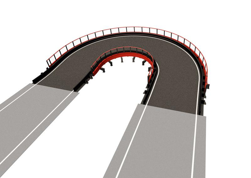 Banked Semi-Oval MEDIUM Driving experience: Banked semi-oval structure enhances the racing experience on the track with the feeling of centrifugal force while driving. Medium Structure length: 92 lin. ft (28 m) Elevation change: +/- 5 lin. ft (1.5 m) Min. space required: 2583 sq. ft (240 m2) Min. height required: 13 lin. ft (4 m)
