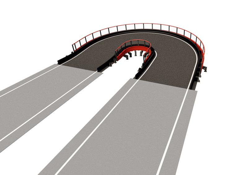Banked Semi-Oval SMALL Driving experience: Banked semi-oval structure enhances the racing experience on the track with the feeling of centrifugal force while driving. Small Structure length: 72 lin. ft (22 m) Elevation change: +/- 3.3 lin. ft (1 m) Min. space required: 1981 sq. ft (184 m2) Min. height required: 11.5 lin. ft (3.5 m)