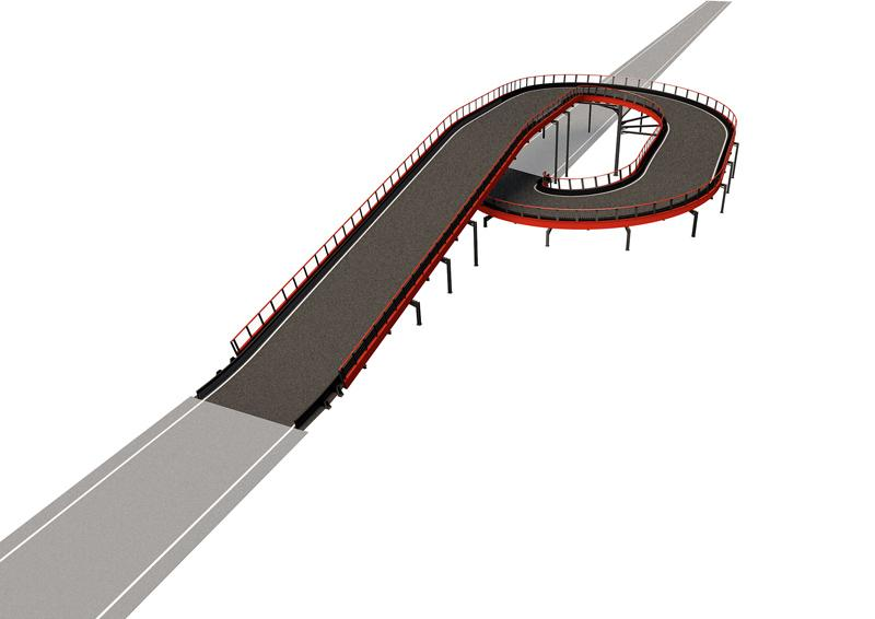 SSE 180/3 Driving experience: A compelling structure that enhances the driving experience, saves space, and makes the track layout even more entertaining. 360K is the only provider of straight & spiral elevation structure for go-kart track on the market. Straight & Spiral Elevation 180/3 Structure length: 303.5 lin. ft (92.5 m) Elevation change: +/- 17 lin. ft (5.2 m) Min. space required: 6458 sq. ft (600 m2) Min. height required: 25 lin. ft (7.5 m)
