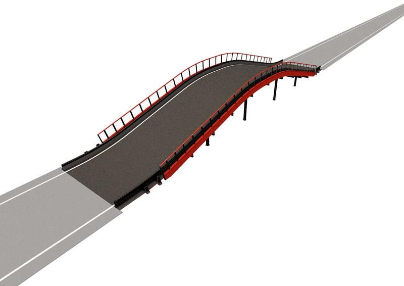 Flyover Driving experience: A dynamic and eye-catching multi-level feature that gives drivers a feeling of flying. Structure length: 102 lin. ft (31 m) Elevation change: +/- 8.5 lin. ft (2.6 m) Min. space required: 2024 sq. ft (188 m2) Min. height required: 16.4 lin. ft (5 m)