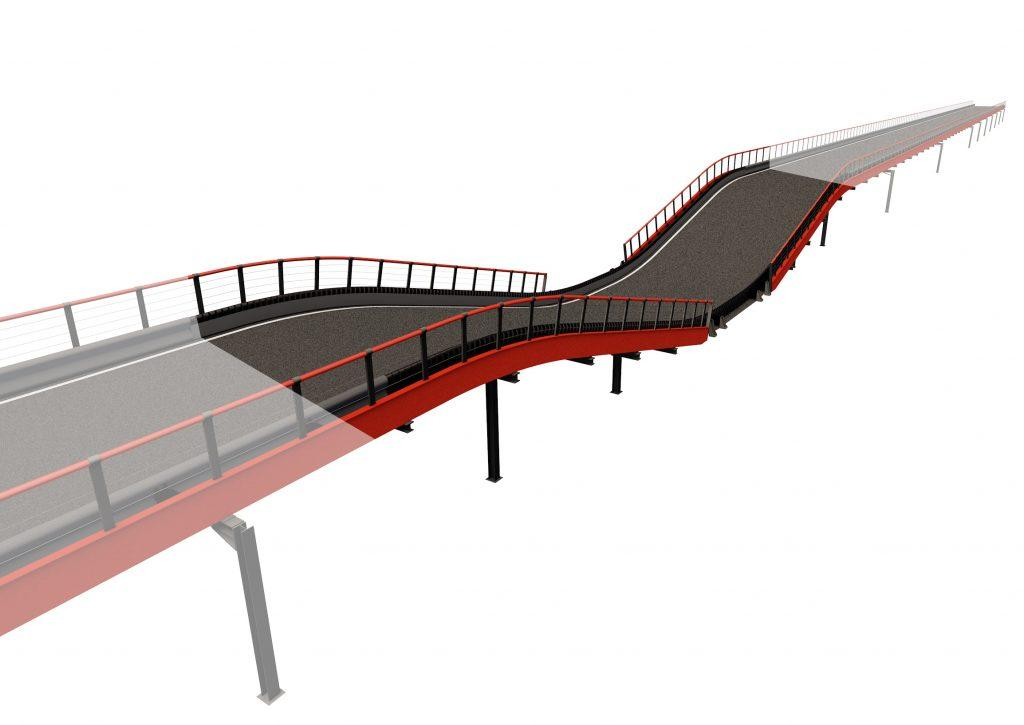 Dive-under Driving experience: With dive-under structure, the drivers will smoothly descend from the multi-level section to the ground floor and back up. Structure length: 102 lin. ft (31 m) Elevation change: +/- 8.5 lin. ft (2.6 m) Min. space required: 2024 sq. ft (188 m2) Min. height required: 16.4 lin. ft (5 m)